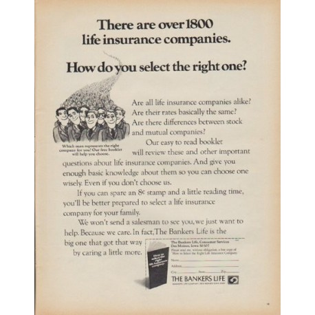 """1971 Bankers Life Company Ad """"over 1800 life insurance companies"""""""