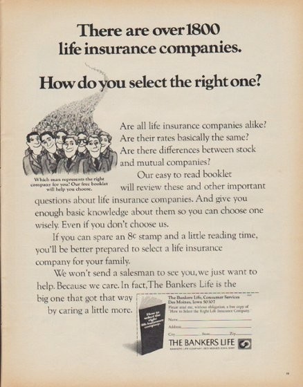 """1971 Bankers Life Company Vintage Ad """"over 1800 life ..."""