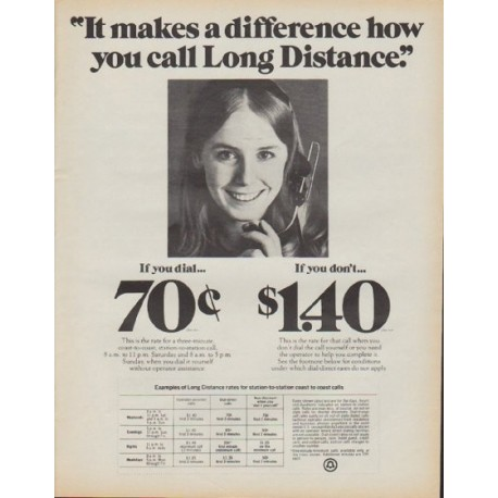 """1971 Bell Telephone Ad """"It makes a difference"""""""