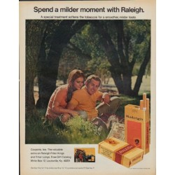 "1971 Raleigh Cigarettes Ad ""milder moment"""