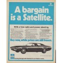 "1971 Plymouth Satellite (model year 1972) Ad ""A bargain is a Satellite."""