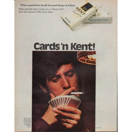 """1971 Kent Cigarettes Ad """"Cards 'n Kent"""""""