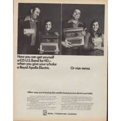 "1971 Royal Typewriter Ad ""Royal Apollo Electric"""