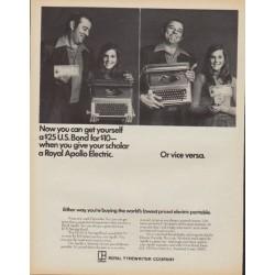 """1971 Royal Typewriter Ad """"Royal Apollo Electric"""""""