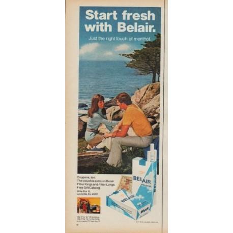 "1971 Belair Cigarettes Ad ""Start fresh with Belair"""