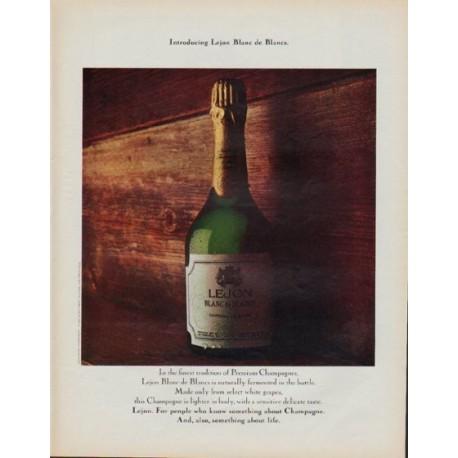 "1971 Lejon Champagne Ad ""Introducing Lejon Blanc de Blancs."""