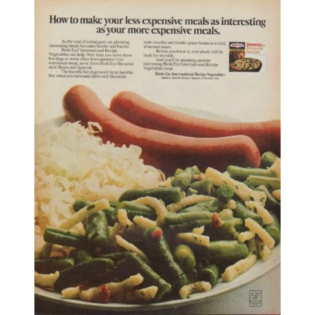 """1971 Birds Eye Ad """"less expensive meals"""""""