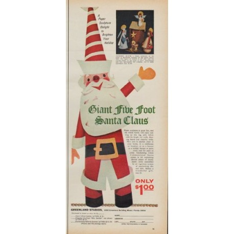 "1971 Greenland Studios Ad ""Giant Five Foot Santa Claus"""