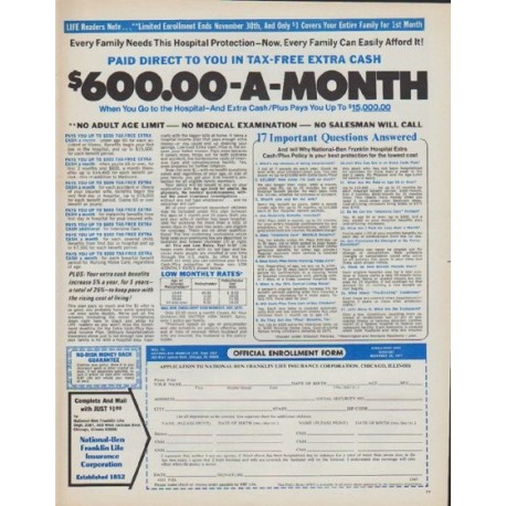 """1971 Ben Franklin Life Insurance Ad """"$600.00-A-Month"""""""