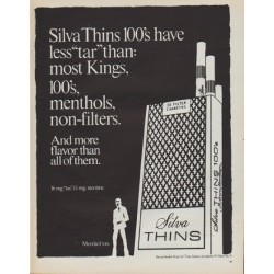 "1971 Silva Cigarettes Ad ""Silva Thins"""