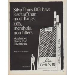 "1971 Silva Cigarettes Ad ""Silva Thins"""