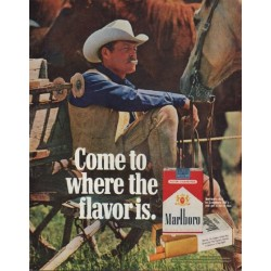 "1971 Marlboro Cigarettes Ad ""Come to where the flavor is."""