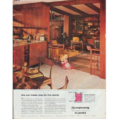"1957 Armstrong Floors Ad ""the car made way for the family"""