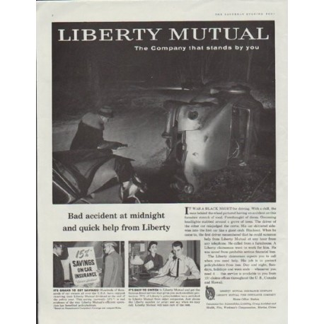 "1957 Libery Mutual Ad ""Bad accident at midnight"""
