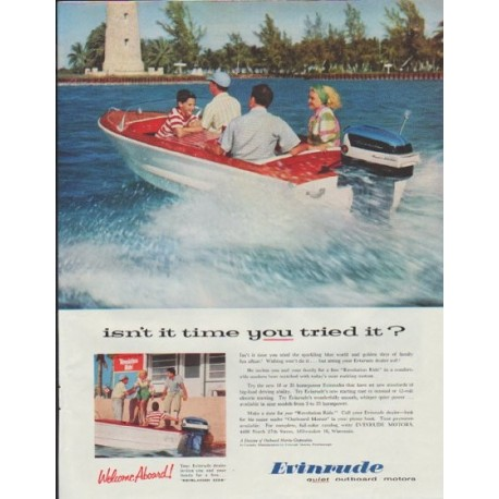 "1957 Evinrude Ad ""isn't it time you tried it?"""
