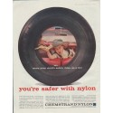 """1957 Chemstrand Nylon Ad """"when your child's safety rides on a tire"""""""