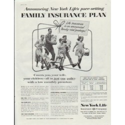 "1957 New York Life Ad ""Family Insurance Plan"""