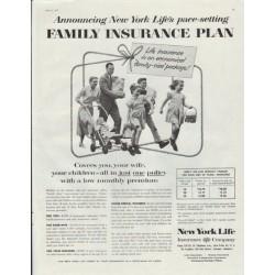 "1957 New York Life Ad ""Family Insurance Plan"""