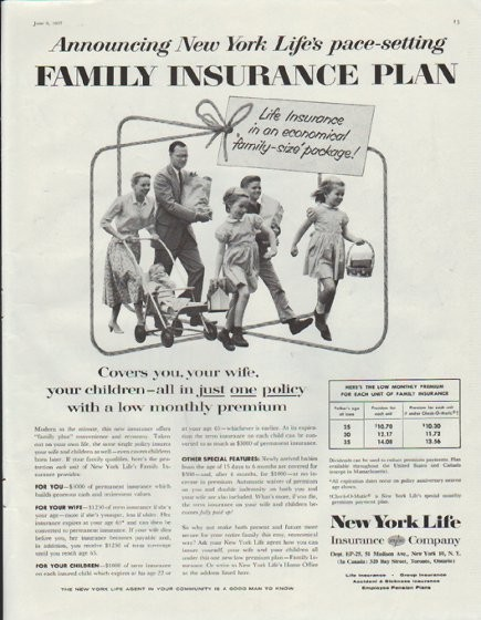 "1957 New York Life Vintage Ad ""Family Insurance Plan"""