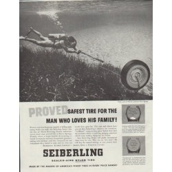 "1957 Seiberling Ad ""Proved Safest Tire"""