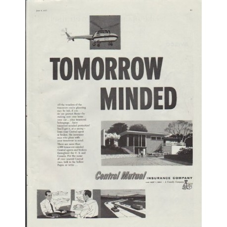 """1957 Central Mutual Insurance Company Ad """"Tomorrow Minded"""""""