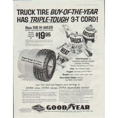 "1957 Goodyear Tires Ad ""Triple-Tough"""