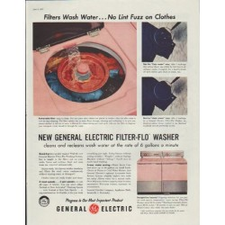 "1957 General Electric Ad ""Filters Wash Water"""