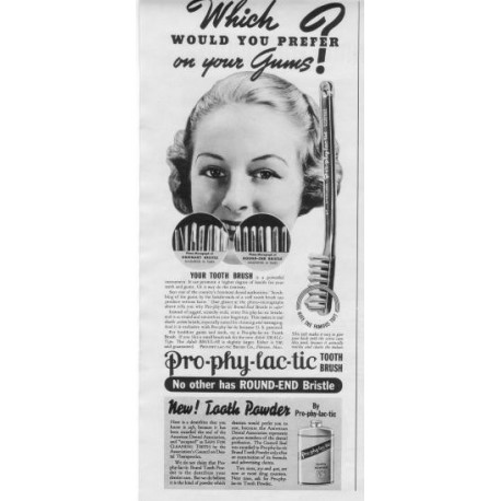 1937 Pro-Phy-Lac-Tic Tooth Brush Ad