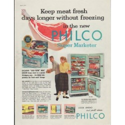 "1957 Philco Refrigerator Ad ""Keep meat fresh"""