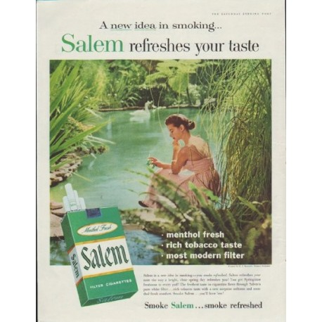 "1957 Salem Cigarettes Ad ""refreshes your taste"""