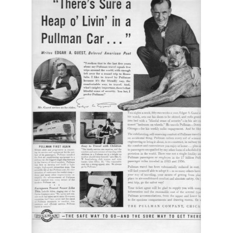 "1937 Pullman Company Train Cars Ad ""Heap O' Livin'"""