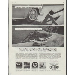 "1957 DuPont Ad ""nylon cord gives tires lasting strength"""