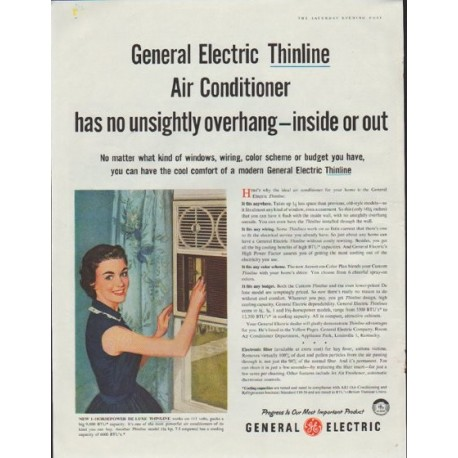 """1957 General Electric Ad """"Thinline Air Conditioner"""""""