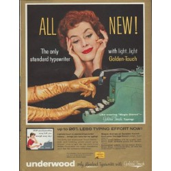 "1957 Underwood Typewriter Ad ""All New!"""