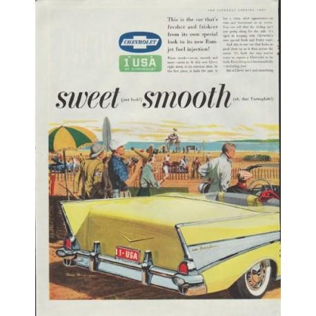 "1957 Chevrolet Ad ""sweet * smooth * sassy"""