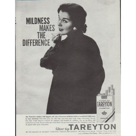 """1957 Tareyton Cigarettes Ad """"Mildness Makes The Difference"""""""