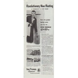 "1957 Iron Fireman Ad ""Revolutionary New Heating"""