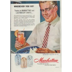 "1957 Manhattan Shirts Ad ""Wherever You Go!"""