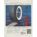 "1957 Mobil Tires Ad ""Super DeLuxe Tubeless"""