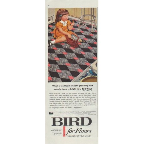 """1957 Bird Floors and Roofs Ad """"What a fun floor!"""""""