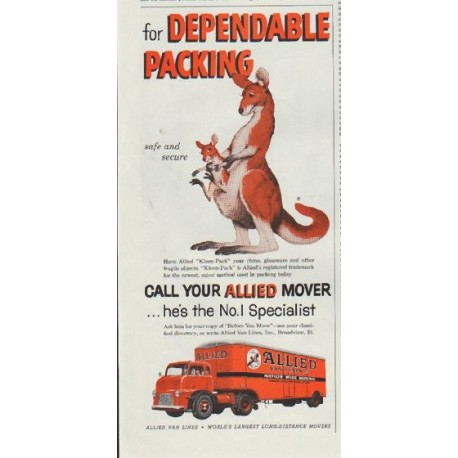 "1957 Allied Van Lines Ad ""for Dependable Packing"""