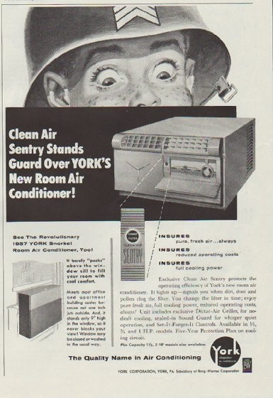 1957 York Air Conditioning Vintage Ad Quot Clean Air Sentry Quot