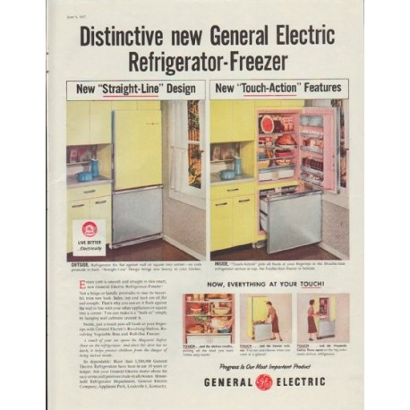 "1957 General Electric Ad ""Distinctive new General Electric"""