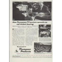 "1957 Thompson Products Ad ""rail ticket buying"""
