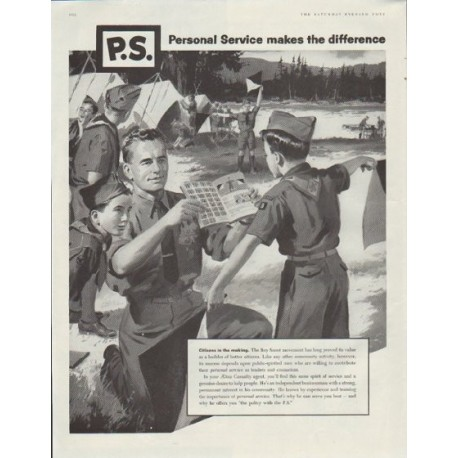 "1957 Aetna Casualty Ad ""Personal Service makes the difference"""