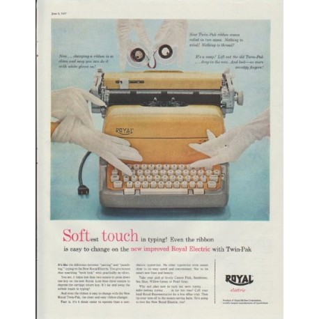 "1957 Royal Typewriter Ad ""Softest Touch"""