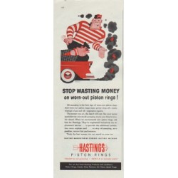 "1957 Hastings Piston Rings Ad ""Stop Wasting Money"""