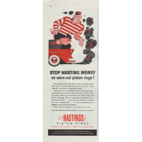 """1957 Hastings Piston Rings Ad """"Stop Wasting Money"""""""