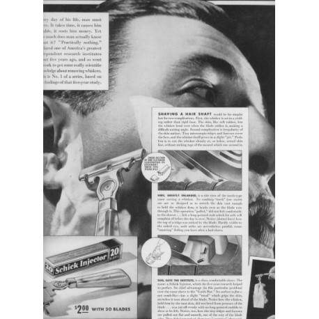 "1937 Schick Injector Razor Ad ""Science"""