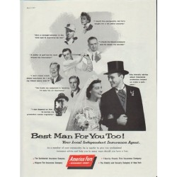 "1957 America Fore Ad ""Best Man For You Too!"""